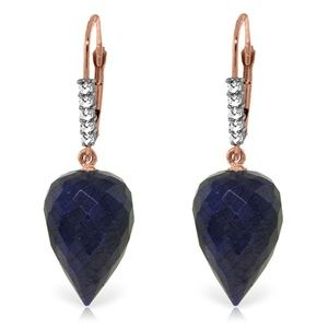EARRING WITH DROP BRIOLETTE SAPPHIRES & DIAMONDS